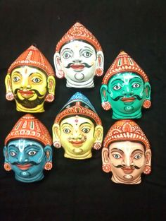 A pattachitra mask set of Pandavs with their by PattachitraNet