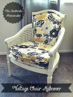 The Inveterate Homemaker: DIY: Vintage Cane Back Barrel Chair Makeover
