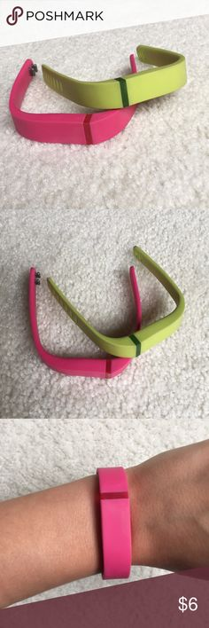 Fitbit Flex Wristbands in Green and Pink Never used! Wristbands are size small. does not come with tracker. Comes with one metal clasp. Fitbit Accessories Watches