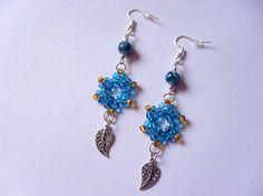 408 - Boucles d'oreilles bleues, perles de rocaille, perles en verre