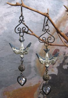 Cream Rhinestone Bird Dangle Earrings Brass Vintage Components by fancylinda