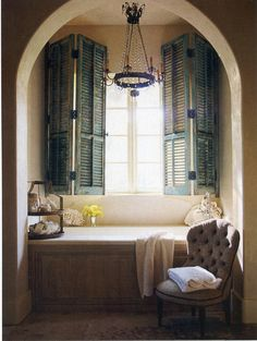 My Rustic Country French Look Book — painted shutters bathroom