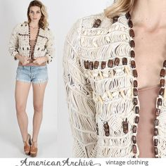 Vintage 80s Cream Macrame Woven Boho Coat Sheer от americanarchive, $78.00