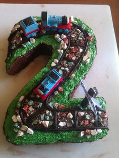 My friends son was obsessed with Thomas the tank engine, so i just incorporated it into his second birthday cake! :)