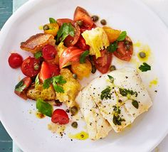 This elegant seafood supper of succulent white fish with a tomato, caper and crispy crouton salad makes an attractive dinner party main Tilapia Recipes, Cod Recipes, Fish Recipes, Seafood Recipes, Salad Recipes, Dinner Recipes, Bbc Good Food Recipes, Cooking Recipes, Batch Cooking