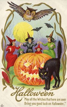 "For MOM - book club - Halloween Vintage Postcard :""May all the Witches that here are seen/Bring you good luck on Hallowe'en."""