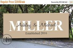 25% OFF SALE Personalized Family Name Sign  Personalized Wedding Gift Personalized Sign Bridal Shower Gift Housewarming Gift