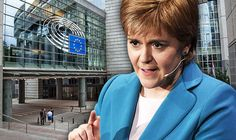 Nicola Sturgeon and EU flags