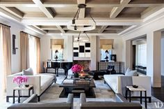 Designer Martyn Lawrence Bullard opted for a neutral color scheme in the living room of Kourtney Kardashian's California house. | archdigest.com