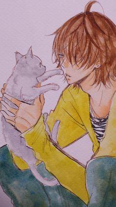 Even guys like kittens, like Naruse Shou Hot Anime Boy, I Love Anime, Anime Guys, Manga Anime, Manga Boy, Dengeki Daisy, Naruse Shou, Namaikizakari, Manga Cute
