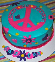 Peace Sign Cake For Whitney's birthday? At least this one doesn't have the lime green...