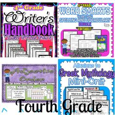 Fourth Grade ELA resources!  Allusions, Adjective Order, Spelling, Greek and Latin Roots, Writer's Handbook!  $  Supports 4th Grade CCSS ELA. $