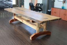 Custom Made Reclaimed Live Edge Elm Table
