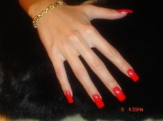 long acrylic nails | Red Nail Collection Square Classic Acrylic Nails by Orange Tree Beauty ...