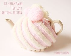 Fancy making something delicious looking for your tea pot? then get to it  with this easy free knitting pattern.  There are more knitting patterns for tea cosies, baby slippers/bootees and  hand puppets in my Etsy shop. Or ifyou want to buy this handmade knitted  tea cosy ready made it is for sale in my Etsy shop.  shop  Ice Cream Swirl Tea Cozy Knitting Pattern  Materials  1 x 50g double knit yarn in white  1 x 50g double knit yarn in pink  4mm knitting needles / darning needle / scissors…