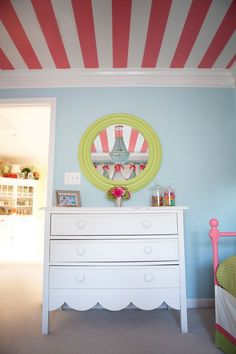 girl bedroom, love the stripes, coral pink, lime green and aqua with crisp white
