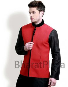 Aristocratic Red Nehru Jacket Item code : NJ1116  http://www.bharatplaza.com/mens-wear/coats/aristocratic-red-nehru-jacket-nj1116.html