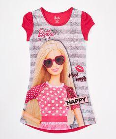 Look at this #zulilyfind! Pink Barbie 'Think Happy' Pajama Gown - Kids by Komar Kids #zulilyfinds