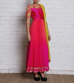 Pink Embroidered Crepe & Georgette Anarkali Suit