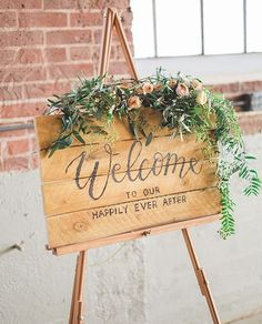 Rustic Wedding Sign - Hot Branded Wood - Welcome to our happily ever after