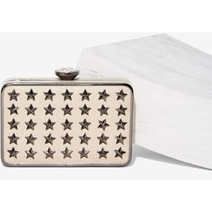 Catch a Falling Star Vegan Leather Clutch ($35) ❤ liked on Polyvore featuring bags, handbags, clutches, beige, white studded purse, white purse, white handbags, chain strap purse and studded clutches