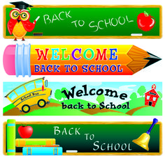 School with pencil vector banners - Vector Banner free download
