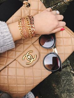 bracelets, gold bracelets, chains, chain bracelet, chanel, how to style your chanel bag, sunnies, how to style your sunnies, fashion, fashion inspiration