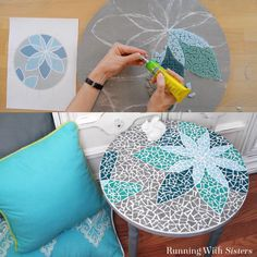 How To Mosaic A Table - Running With Sisters We love this DIY mosaic table made by using Beacon's Quick Grip! Celebrate the countdown to spring by designing a flower pattern like theirs or design your own to make a completely custom table! Mosaic Tile Designs, Mosaic Tile Art, Mosaic Patterns, Mosaic Glass, Flower Patterns, Mosaics, Mosaic Artwork, Mosaic Art Projects, Mosaic Crafts