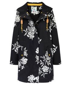 Women's Joules Raina Floral Waterproof Parka - Black Floral