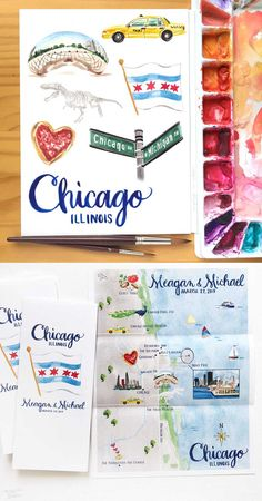 "Hand-painted Chicago, IL wedding map design printed on large 8.5 x 11"" poster. 100% original art by Michelle Mospens. - Mospens Studio"