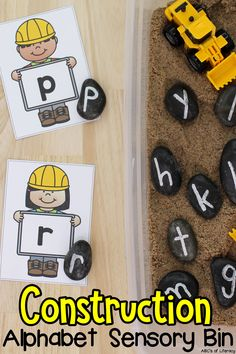"Are you looking for a fun letter recognition and sensory activity? Your preschoolers and kindergartners are sure to ""dig"" this Construction Alphabet Sensory Bin as they are learning the ABC's through sensory play. Pre-readers can work on matching lowercase and capital letters, letter sounds, and letter formation. Click on the picture to learn how to make this sensory bin and get the free letter recognition cards! #letterrecognition #sensorybin #sensoryplay #preschool #alphabetactivity"