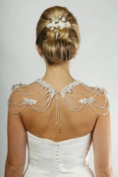 Back view of ornate draping crystal capelet, P734S.