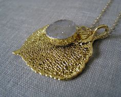 Real leaf necklace Druzy necklace gold ASPEN LEAF by NYmetals, $43.50