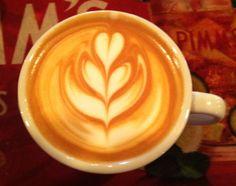 Tulip latte art coffee