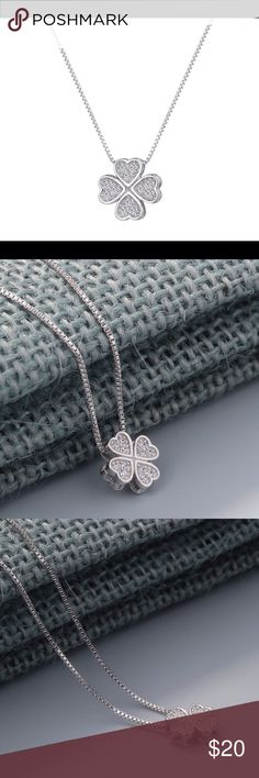"""🍀 STERLING SILVER FOUR LEAF CLOVER NECKLACE 🍀 Sterling silver (925) four leaf clover necklace. The center of the clovers are filled with white crystals. This makes a great gift for a St. Patrick's Day baby. The measurements are for the clover: 7/16""""L X 7/16""""W X 3/16""""D. The chain measures: 16""""L with a 2"""" extender. Jewelry Necklaces"""