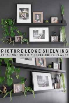 Ikea Picture Shelves, Picture Ledge Shelf, Ikea Photo Ledge, Ikea Wall Shelves, Photo Shelf, Picture Ledge Bedroom, Picture Walls, Frame Shelf, Shelf Wall