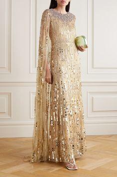 Gold Gown, Gold Sequin Dress, Jenny Packham Dresses, Fancy Wedding Dresses, Blush Pink Dresses, Tulle Gown, Cape Dress, Beautiful Gowns, Green Dress