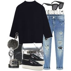 A fashion look from August 2016 by hellomissapple featuring Superga, Proenza Schouler, Nixon, CÉLINE, Fendi, Topshop and Native Union