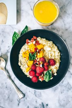 Basil Coconut Orange Brown Rice Breakfast Bowl