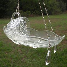 Vintage Punch Cup Hanging Bird Feeder Glass repurposed