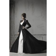 Gothic Long Sleeved Taffeta Winter Wedding Gown