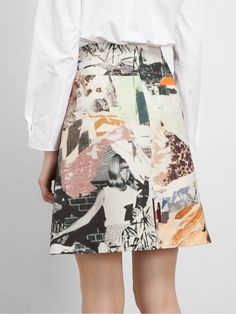 Carven Collage Printed Wool-blend Skirt - Cumini - Farfetch.com