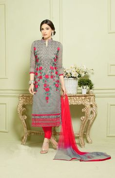 Grey & red embroidery heavy chanderi straight suit