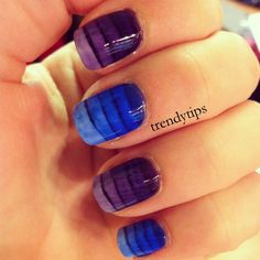 Awesome ombre stripes by layering sheer jelly polish. One stripe on each layer of jelly. So smart.