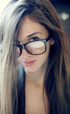 Big ass brunette glasses