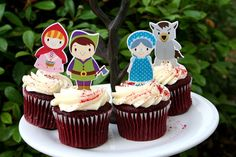 Little Red Riding Hood party cupcake toppers Colorful Birthday Party, Red Party, 4th Birthday Parties, Party Party, Storybook Party, Fairytale Party, Red Riding Hood Party, Little Red Ridding Hood, Food Picks