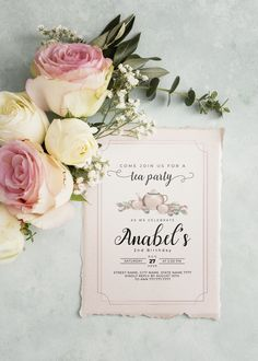 Tea party invitation template for bridal shower, baby shower or birthday party Street Names, 2nd Birthday, This Is Us, Celebrities, Second Anniversary, Celebs, Foreign Celebrities, Celebrity, Famous People