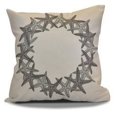 E By Design Starfish Wreath Decorative Pillow Gray/White - PHGN662GY2GY1-18