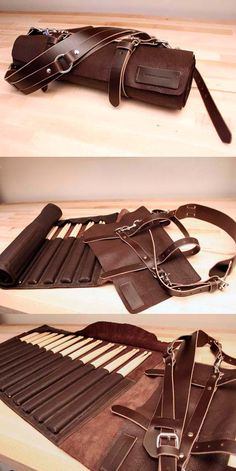 Benjamin Cominsky Drumstick Bag, special project for Caveman drummer Stefan, made from chocolate brown tumbled cow leather holds twelve pairs of drumsticks