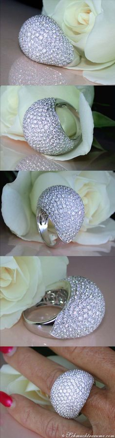 Huge Diamond Dome Ring, 8,19 cts. g-vsi WG18K - Visit: schmucktraeume.com - Like: https://www.facebook.com/pages/Noble-Juwelen/150871984924926 - Mail: info@schmucktraeume.com